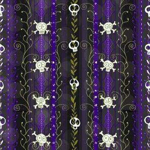 Vines O' Death -- Violet -- Halloween Wicca Skull Skeleton Victorian Vine Lace