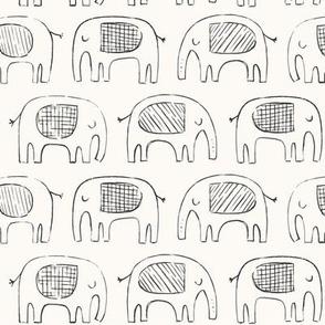 Dark gray and beige linear elephants in doodle style