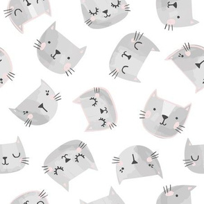 Cute Cat Faces in Gray and Pink on White