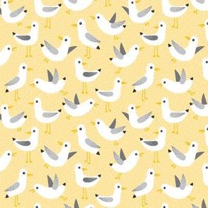 seagulls on yellow - small