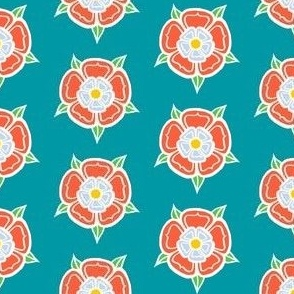 tudor rose - teal