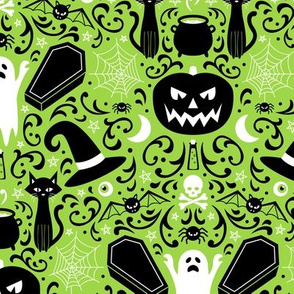 Halloween Damask (Green)