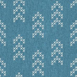 Aztec arrows embroidery denim blue burlap fabric texture Fabric