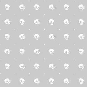 Halloween Skulls - Ghost Grey - Poisonous Flowers Coordinate