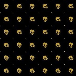 Halloween Skulls - Gold Black - Poisonous Flowers Coordinate