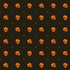 Halloween Skulls - Orange Black - Poisonous Flowers Coordinate