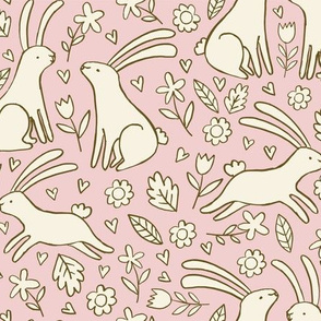 Cute Rabbits and Flowers in Pink and Cream