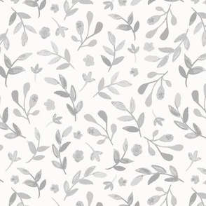 Watercolor Foliage in Gray on Cream Background - large scale