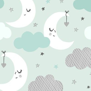 Mint and Gray Night Sky with moon, stars and clouds