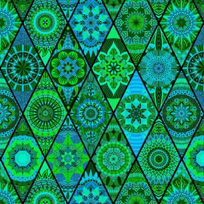 Diamond Mandalas--Green and Blue