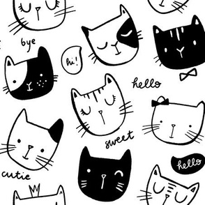 Cat Faces in Black and White