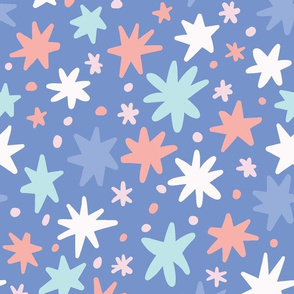 Multicolor Floral on Blue