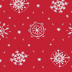 Hand Drawn Snowflake in Red