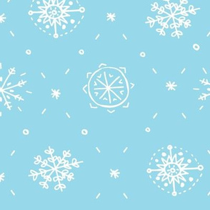 Hand Drawn Snowflake in Blue