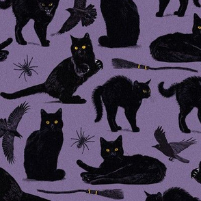 Normal scale • Witch black cat - purple