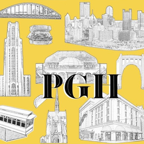 Pittsburgh Toile Yellow Letters