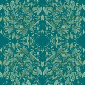 Botanical Mirrored Leaf Pattern - Blue - Green Wash 2-ch
