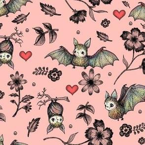 Bat & Hearts, PINK, SEAMLESS, Lrg Print
