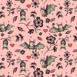 Bat & Hearts, PINK, SEAMLESS, Small Print