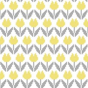 Yellow gray tulips cross-stitch pattern Farmhouse Fabric