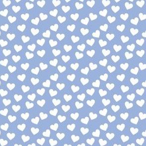 White hearts on sky blue (mini)