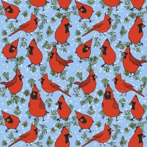Big Fat Red Cardinals - Blue