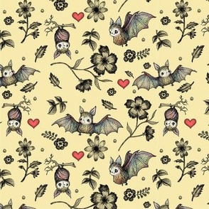 Bat & Hearts, SMALL Print, Cream