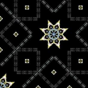 Rich Metal Eight (8) Pointed Star on Chalk-Board Black