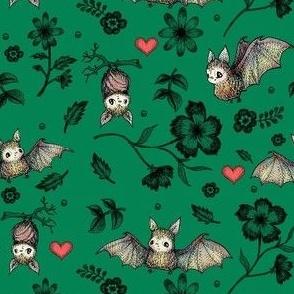 Bat & Hearts, Dark Green, SMALL print