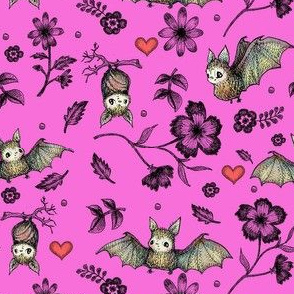 Bat & Hearts, Fuchsia, SMALL PRINT
