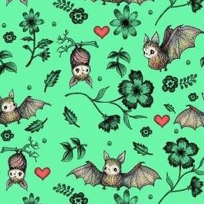 Bat & Heart, Light Greem, SMALL PRINT