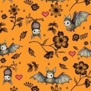 Bat & Hearts, Orange, SMALL PRINT