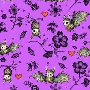 Bat & Hearts, Purple, SMALL PRINT