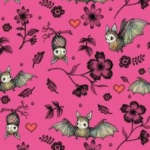 Bats & Hearts, Raspberry, SMALL PRINT