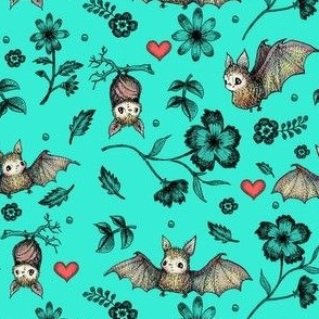 Bats & Hearts, Turquoise, SMALL PRINT