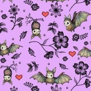 Bats & Hearts, Violet, SMALL PRINt