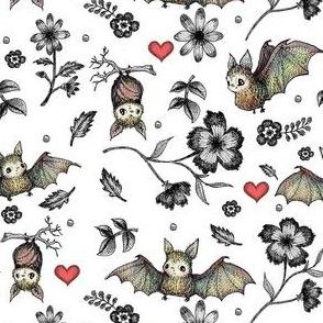 Bats & Hearts, White, SMALL PRINT