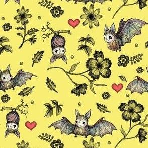 Bats & Hearts, Yellow, SMALL PRINT