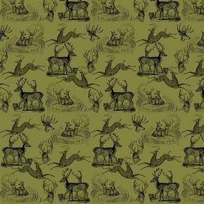 """8"""" Deer Rustic Pattern 3 Olive Green"""