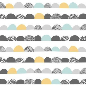 Abstract Scandinavian Scallops in Mint Yellow and Gray