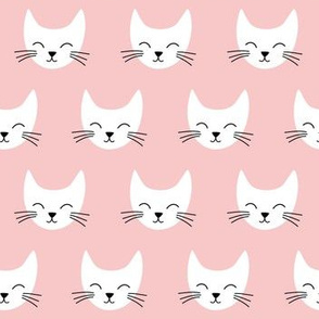 Simple White Cat heads on pink background