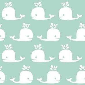Modern Cute Whales in Mint