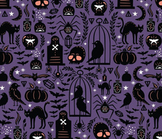 Large Spooky Witchcraft Halloween Purple