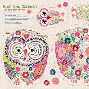 Hoot and Screech Cut and Sew Softies