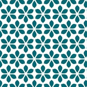 Star Petals - Teal / White (large)