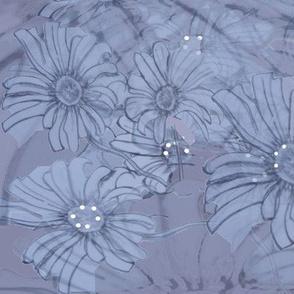 Blue Daisy Flora Tiled Pattern - Batik Effect
