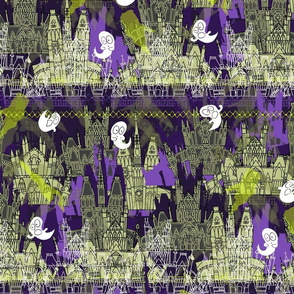 Ghostly Gothic - Ghost Haunted Mansion with Halloween Ghosts in Eerie Green and Purple