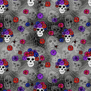 Gothic Skulls, Roses and Black Widows