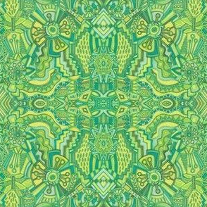 Abstract Doodle Art Green and Yellow small