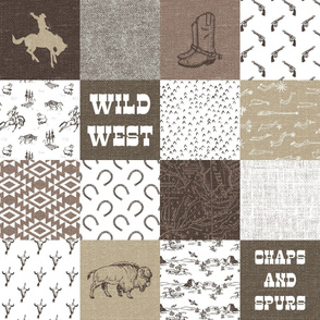 Wild West Wholecloth Cheater Quilt - 6 inch squares